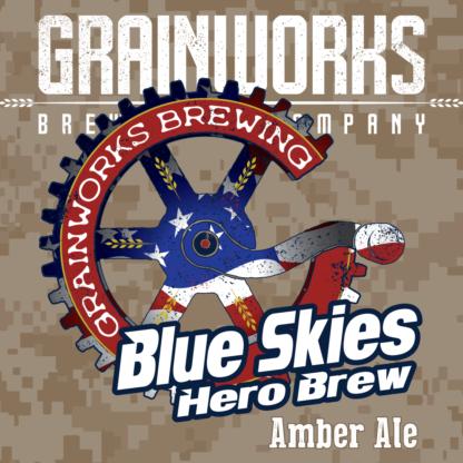 Grainworks Blue Skies Hero Blue amber ale label